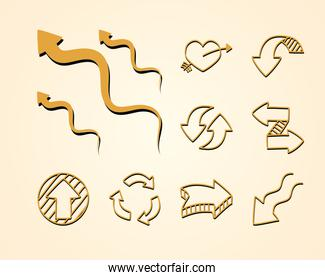 arrowed heart and arrows icon set