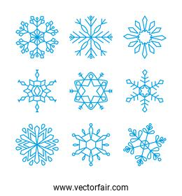 abstract snowflake and snowflakes icon set, line style