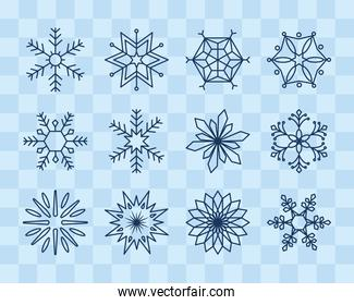 icon set of winter snowflakes, line style