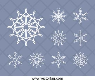 beautiful snowflake and snowflakes icon set, line style