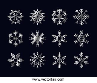 abstract snowflake and snowflakes icon set, gradient style