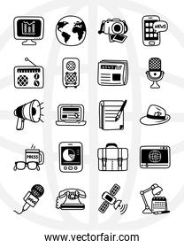 earth planet and news icon set, silhouette style
