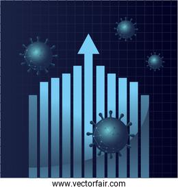 Covid 19 virus stats bars chart with increase arrow gradient style icon vector design