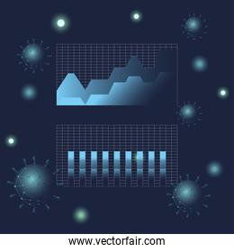 Covid 19 virus stats area and bars chart gradient style icon vector design