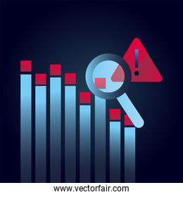 bars chart lupe and warning sign gradient style icon vector design