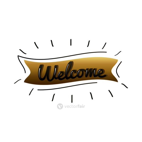welcome label lettering in golden ribbon