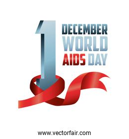 world aids day, lettering with awareness ribbon in number
