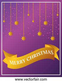 merry christmas, golden hanging stars on purple background card