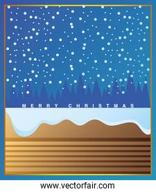 merry christmas, chimney snow falling snowflakes decoration