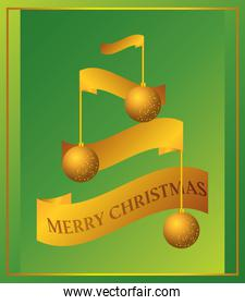 merry christmas, golden balls and ribbons green background