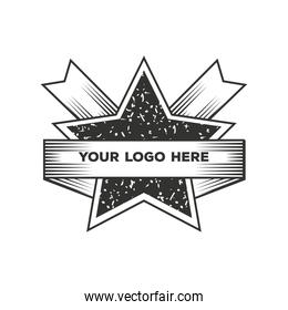 star with ribbon vintage insignia or logotype brand