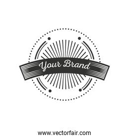round sticker and ribbon vintage insignia or logotype brand