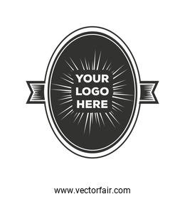 oval sticker layout vintage insignia or logotype brand