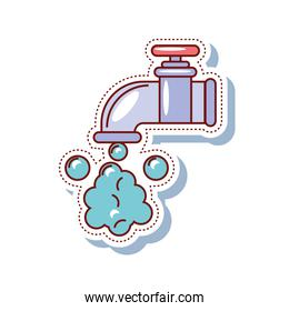 faucet and water drops clean sticker icon