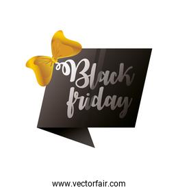 black friday, hand drawn text yellow bow banner