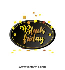 black friday, golden confetti and lettering marketing banner