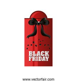 black friday, red tag with gift bow template design