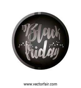 black friday, calligraphy on dark button template