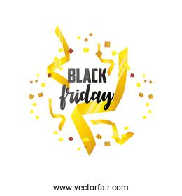 black friday, lettering with golden ribbon and confetti