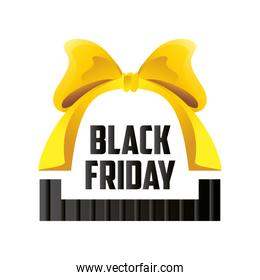 black friday, inscription yellow bow creative template