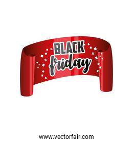 black friday, red ribbon with curved edges and inscription