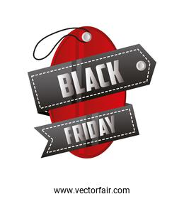 black friday, tag price with ribbon and lettering