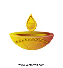 happy diwali festival, gold diya lamp isolated icon
