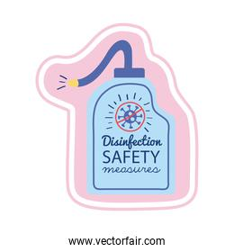 disinfection safety masures lettering campaign with soap bottle