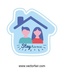 stay home lettering campaign with couple in house