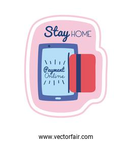 stay home lettering campaign with smartphone payment online