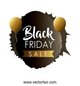 black friday sale label in black paint stain with golden ribbon and balloons helium