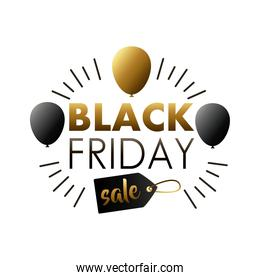 black friday sale lettering label with balloons helium and tag