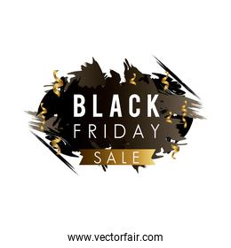 black friday sale label in black paint stain with golden ribbon and confetti