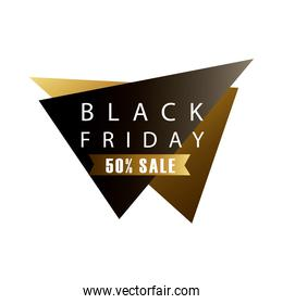 black friday sale lettering in triangular figures and golden ribbon