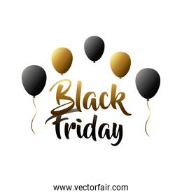 black friday sale lettering label with balloons helium