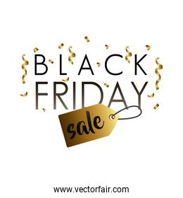 black friday sale lettering with golden tag