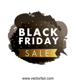 black friday sale label in black paint stain with golden ribbon