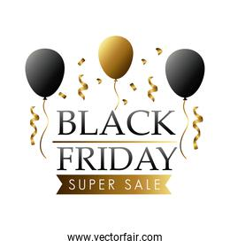 black friday sale lettering label with balloons helium and golden confetti
