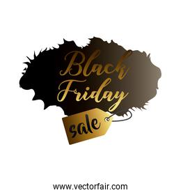 black friday sale label in black paint stain with golden lettering and tag