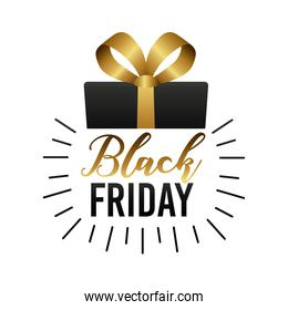 black friday sale label with gift and lettering