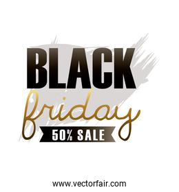 black friday sale lettering with ribbon