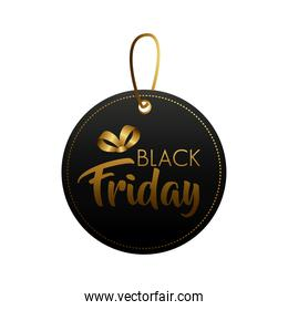 black friday sale lettering in circular tag