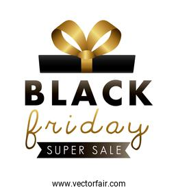 black friday sale label with gift and golden lettering