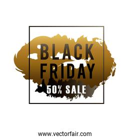 black friday sale label in golden paint stain