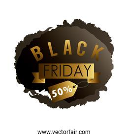 black friday sale label in black paint stain with golden ribbon and tag