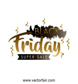 black friday sale label in black paint stain with golden lettering and confetti