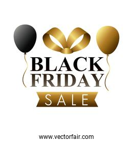 black friday sale lettering label with balloons helium and ribbon golden