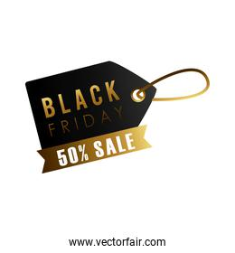 black friday sale lettering in tag