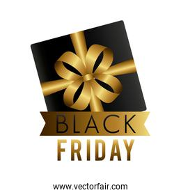 black friday sale label with gift and golden ribbon