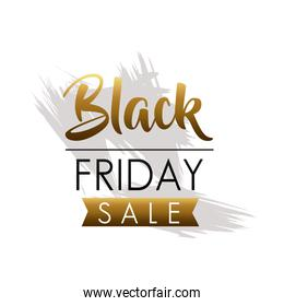 black friday sale lettering with golden ribbon
